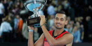 First of many? Nick Kyrgios of Australia holds his trophy after defeating Marin Cilic of Croatia, during their final match, at the Open 13 Provence tennis tournament, in Marseille, southern France.