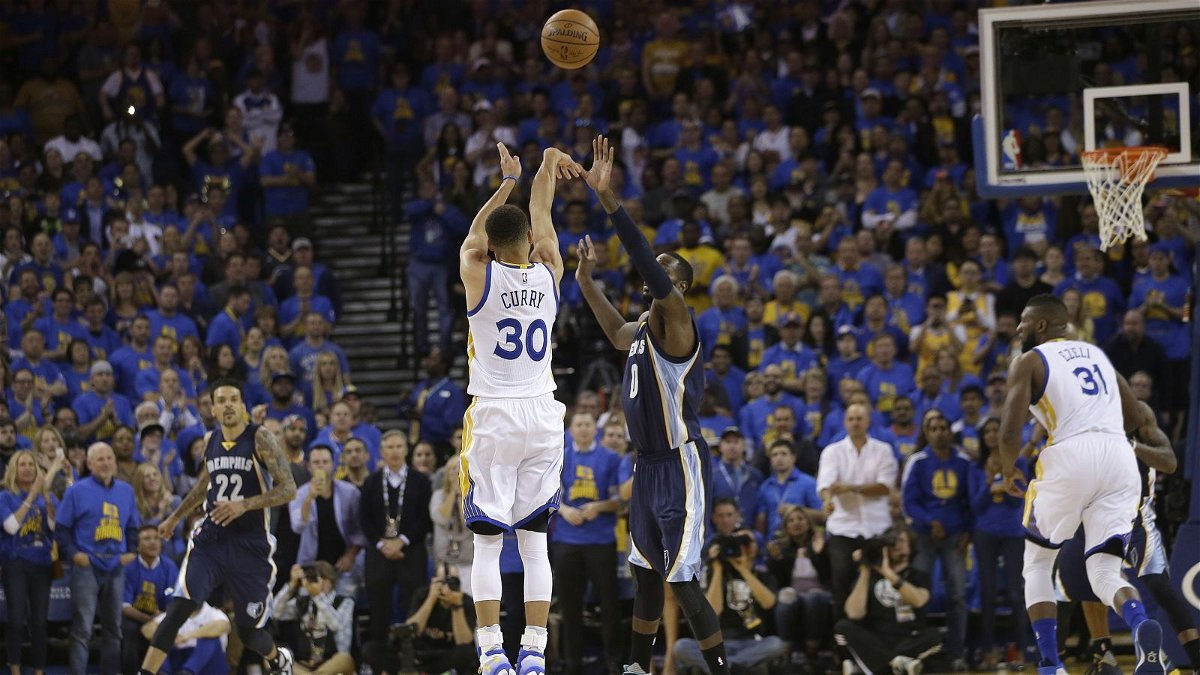 The Warriors in their historic win against Memphis, securing their 73rd win of the regular season.
