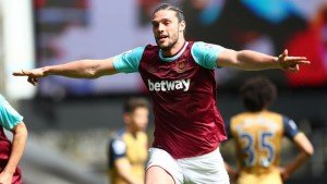 Andy Carroll tormented the gunners backline during west ham game.