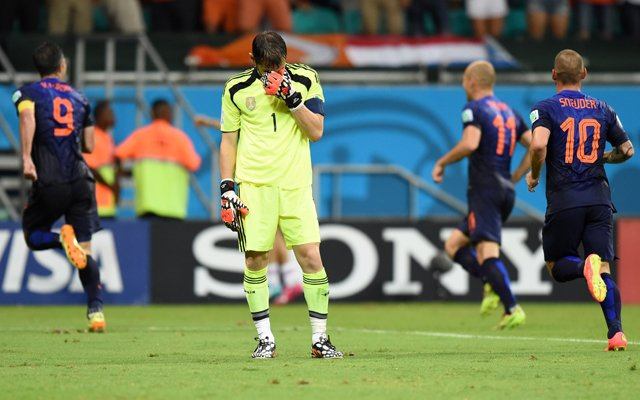 Iker Casillas (C) after the thrashing handed by the Netherlands at the 2014 FIFA World Cup.