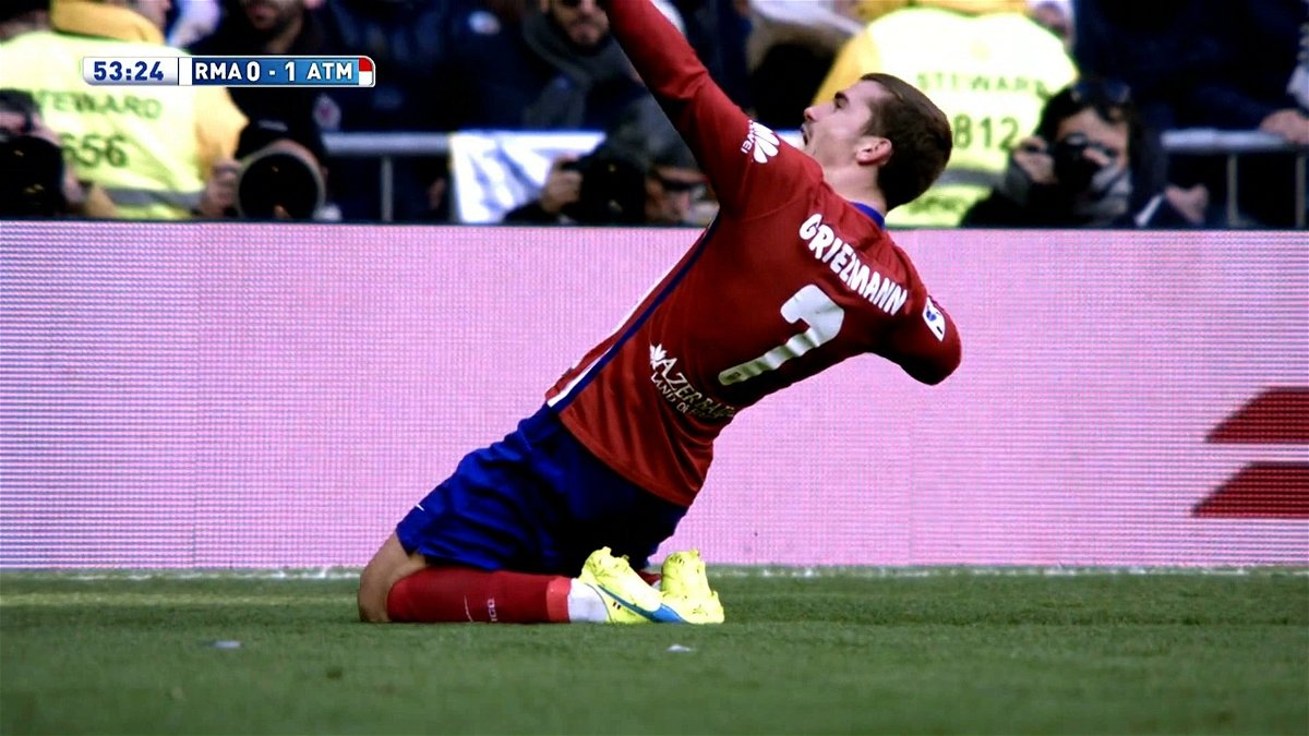 Griezmann celebrating his goal against Real Madrid
