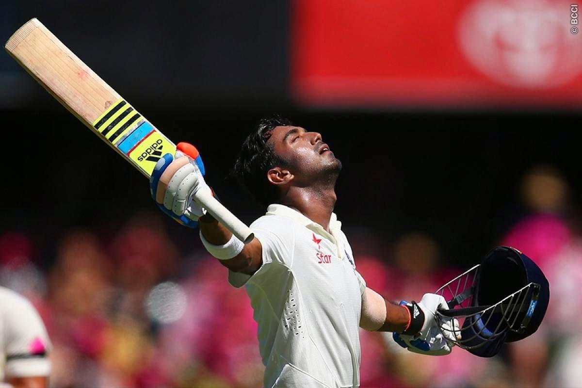 KL Rahul after scoring his maiden test hundred,Australia v India,4th Test,Sydney,2015.