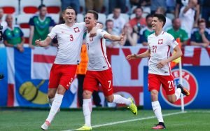 Poland celebrating goal against Northern Ireland