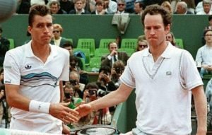 Lendl and McEnroe having a cold handshake after their match