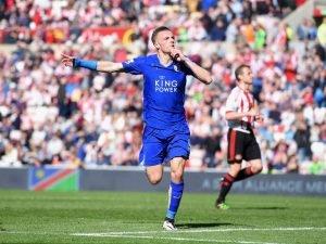 Jamie Vardy ceebrating a goal