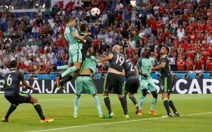 Ronaldo scoring against Wales