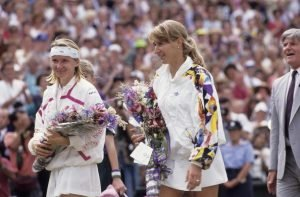 Tennis: Wimbledon: Germany Steffi Graf (R) victorious with Rosewater Dish trophy (L) and Czech Republic Jana Novotna (R) with runner-up trophy after Finals match at All England Club. London, England 7/3/1993 CREDIT: Caryn Levy (Photo by Caryn Levy /Sports Illustrated/Getty Images) (Set Number: D39269 )