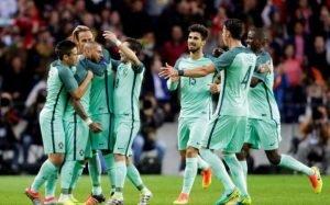 portugal team celebrating goal