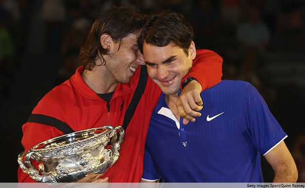 Rafa consoles Roger after the Aus Open final