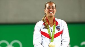 Monica Puig (above) gets emotional after winning the Olympics Women's Singles Gold Medal.