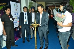 Bhaichung Bhutia Inqugurating Global Sports Business Show 2016