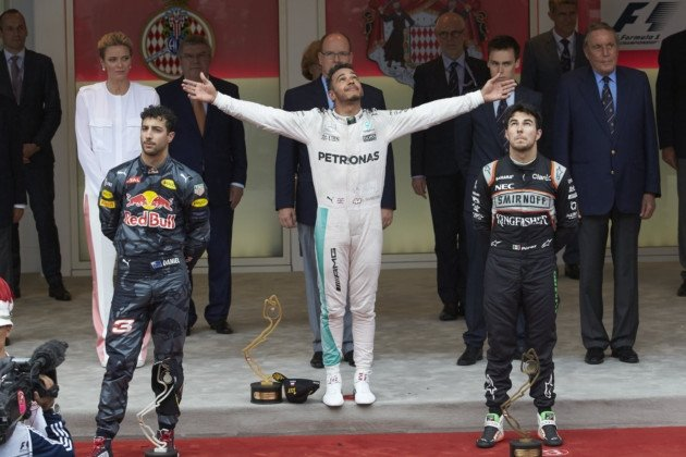 The podium of the 2016 Monaco Grand Prix