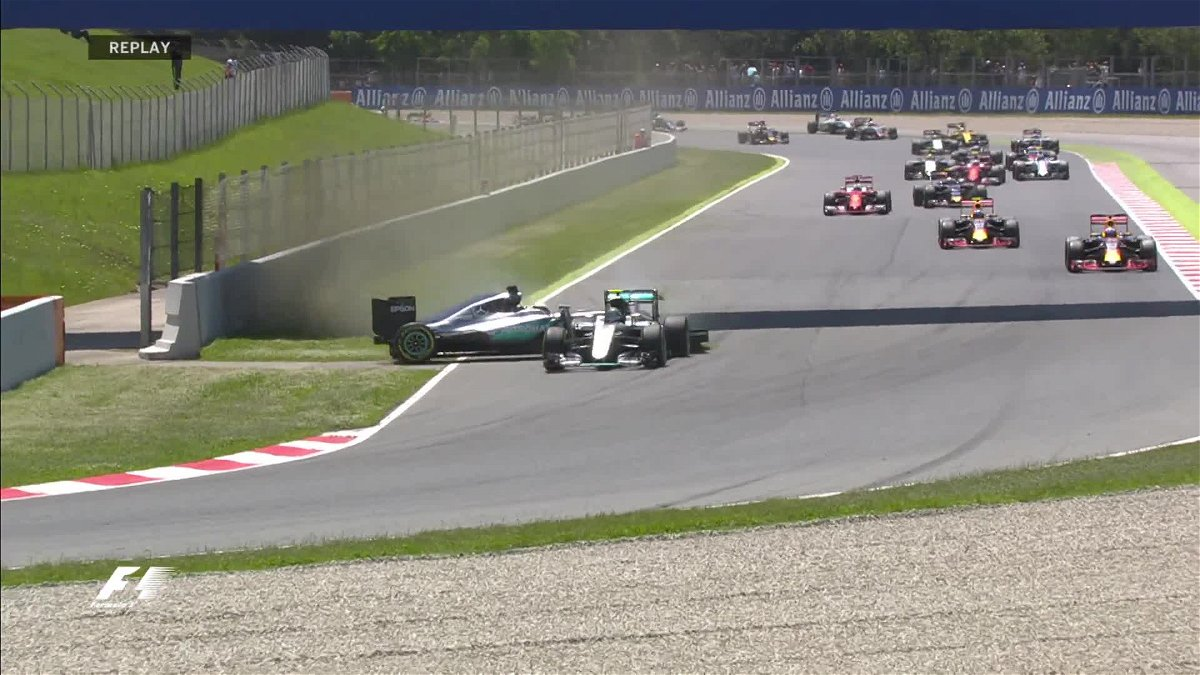 The Double Crash at the Spanish Grand Prix