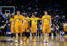 Jarrett Jack #2, David Lee #10, Carl Landry #7, Klay Thompson #11, and Stephen Curry #30
