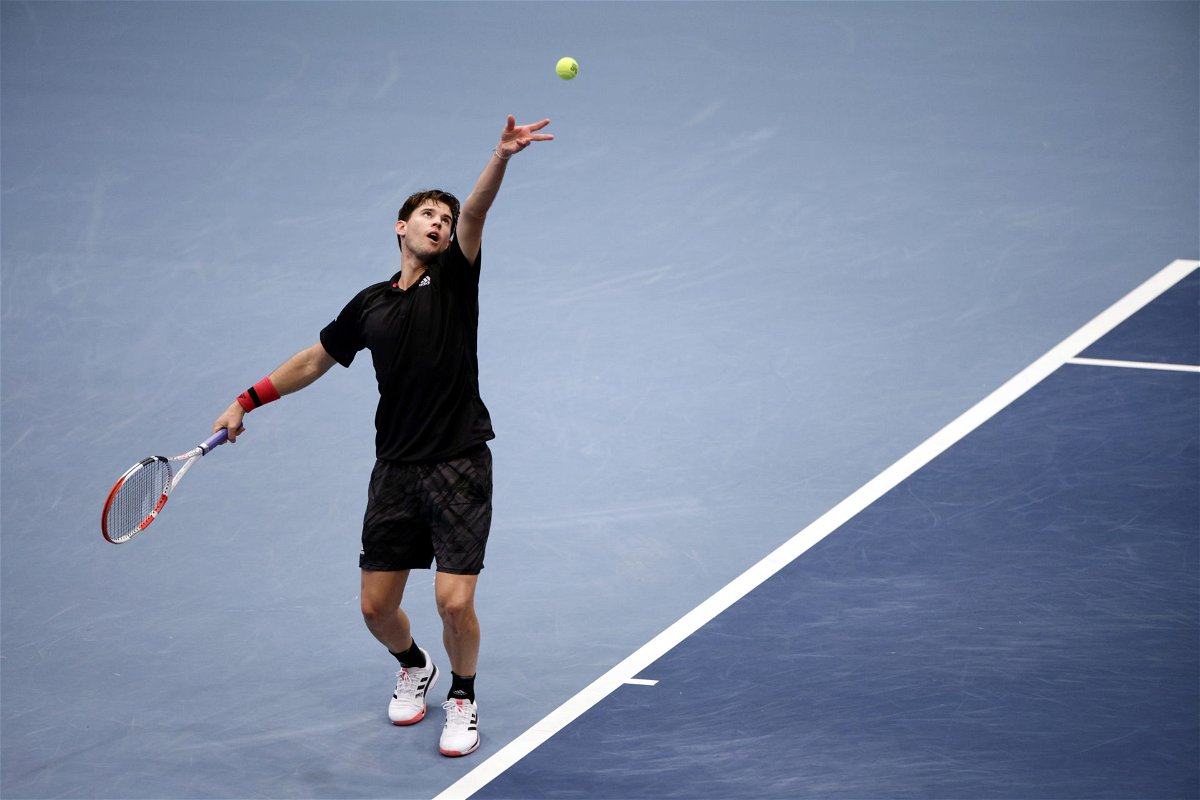Dominic Thiem serves during the ATP Vienna Open 2020