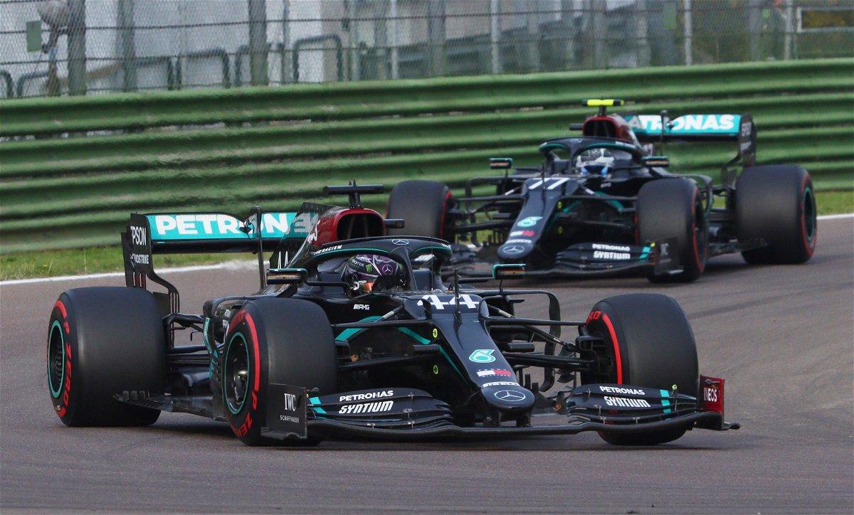 Mercedes drivers racing in the Emilia Romagna GP