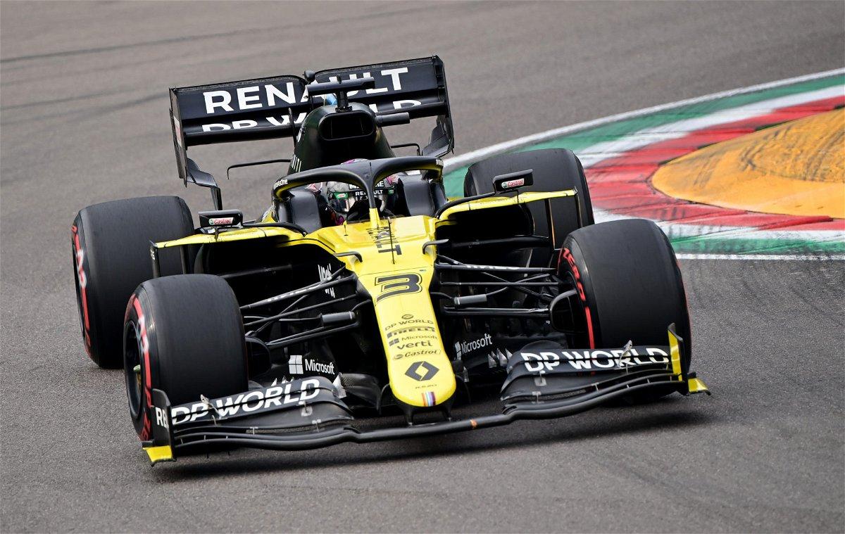 Daniel Ricciardo racing in the Emilia Romagna GP