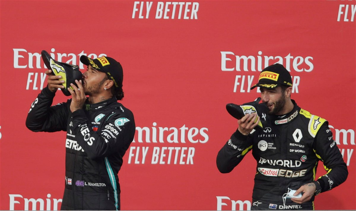 "Daniel Ricciardo : Lewis Hamilton ""Asked"" for Shoey on Imola Podium -  EssentiallySports"