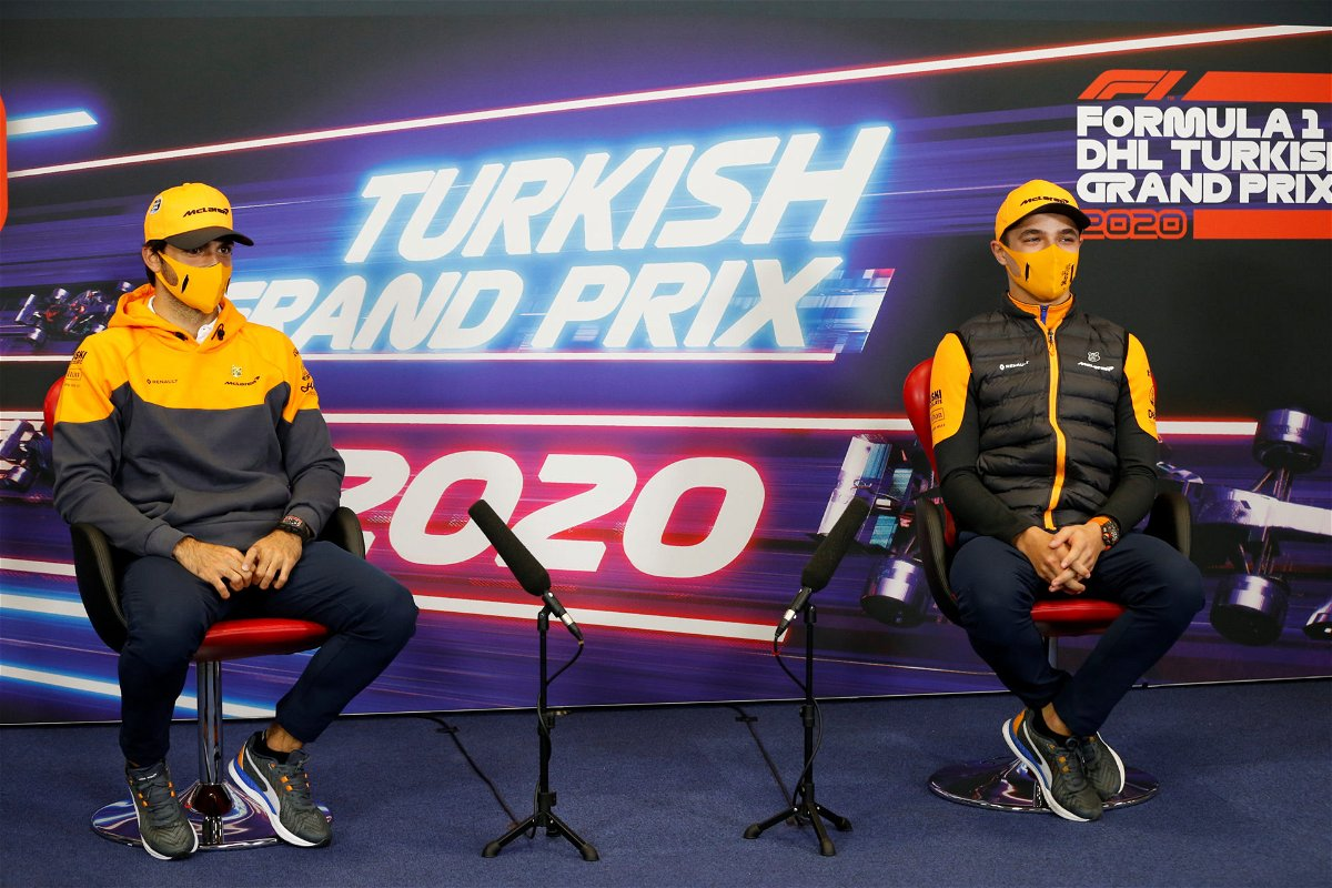 Norris and Sainz at the press conference in Turkey