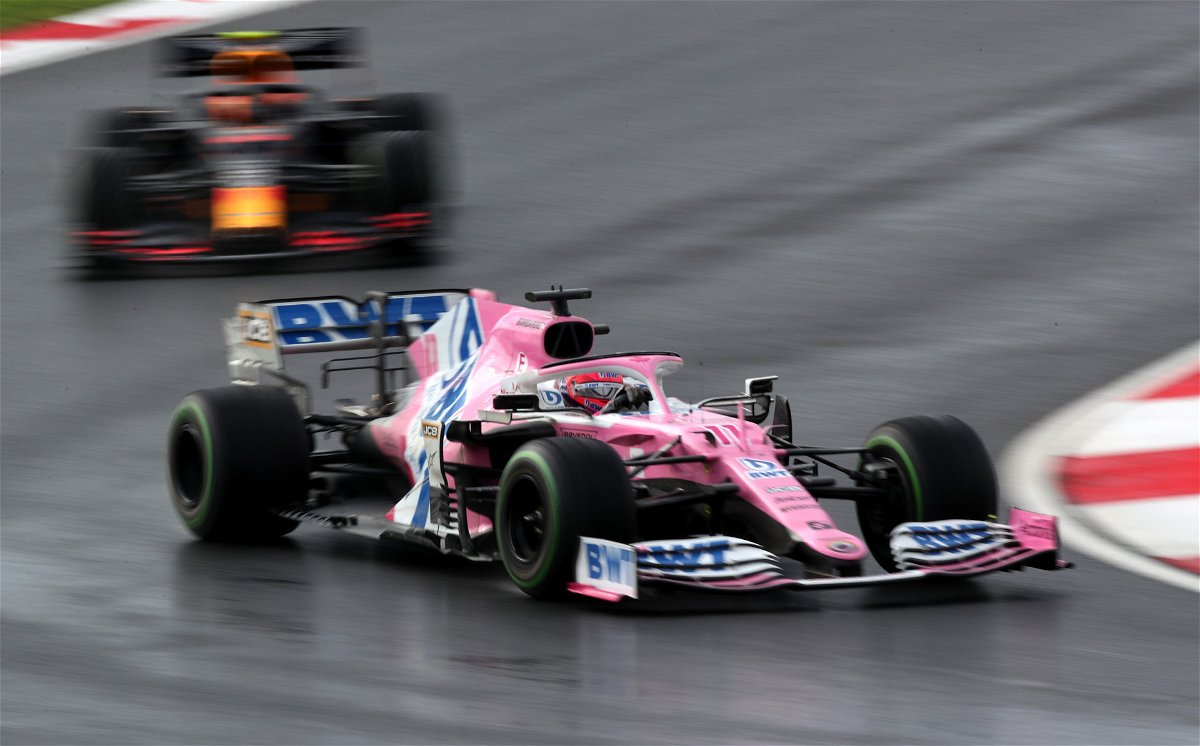 The Racing Point of Sergio Perez in action during the Turkish Grand Prix race