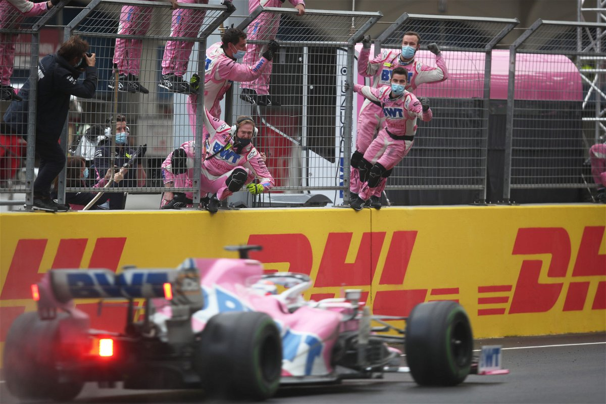Sergio Perez crossing the finishing line at the Turkish GP