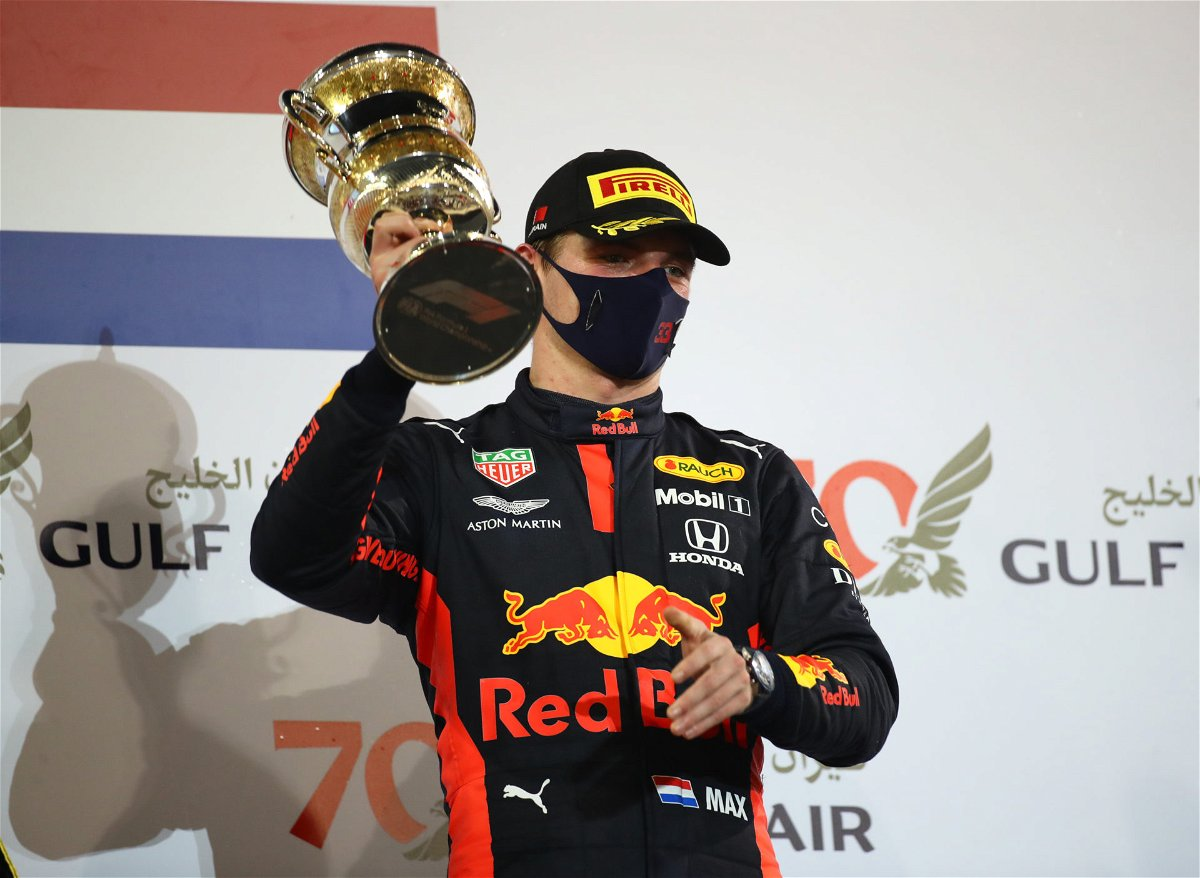 Max Verstappen with his second place in the Bahrain GP