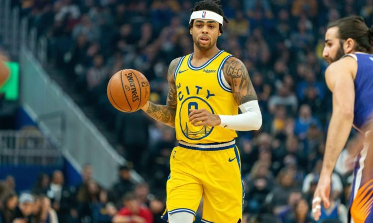 D'angelo Russell in a Golden State Warriors jersey