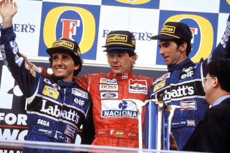 Alain Prost, Damon Hill and Ayrton Senna