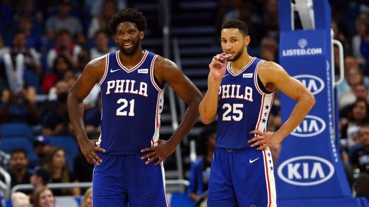 Philadelphia 76ers players Joel Embiid and Ben Simmons