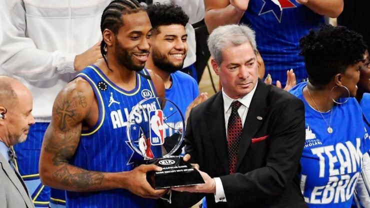 Kawhi Leonard receiving the Kobe Bryant MVP award for the 2020 NBA All-Star game