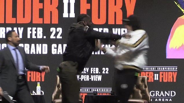 Watch: Tyson Fury and Deontay Wilder Gets into a Heated Brawl Ahead of the Rematch thumbnail