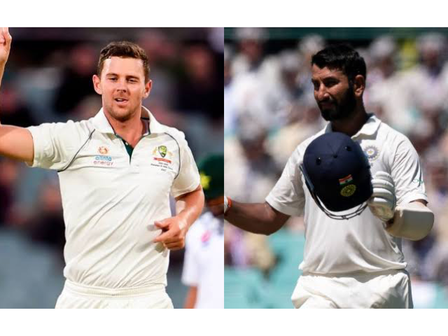Josh Hazlewood and Pujara