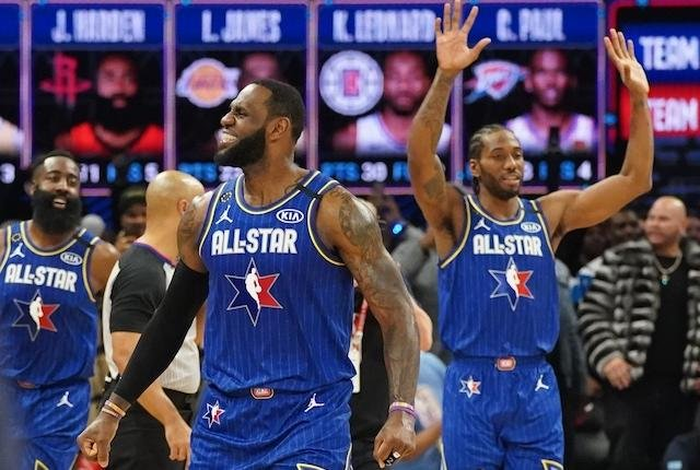 James Harden, LeBron James and Kawhi Leonard