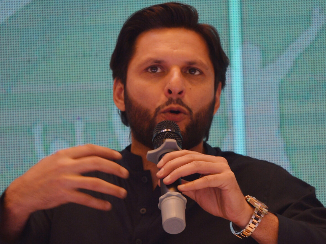 Shahid Afridi at conference