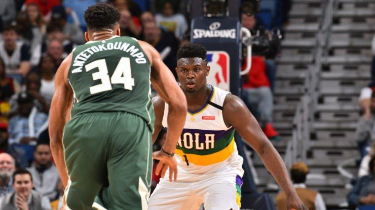 Giannis Antetokounmpo Zion Williamson NBA Bucks Pelicans