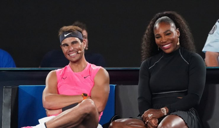 Rafael Nadal of Spain, Serena Williams of the United States andf Novak Djokovic of Serbia look on during the Rally For Relief at Rod Laver Arena in Melbourne, Wednesday, January 15, 2020. Tennis stars have come together for the Rally for Relief at Rod Laver Arena in Melbourne to raise money in aid of the bushfire relief efforts across Australia. (AAP Image/Scott Barbour) NO ARCHIVING ** STRICTLY EDITORIAL USE ONLY, NO COMMERCIAL USE, NO BOOKS **