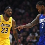 Los Angeles Lakers' LeBron James and Los Angeles Clippers' Kawhi Leonard