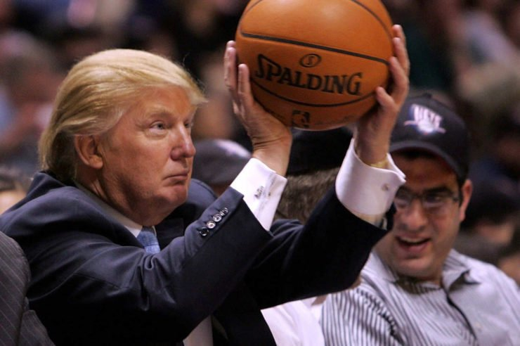 Donald Trump with a basketball in hand