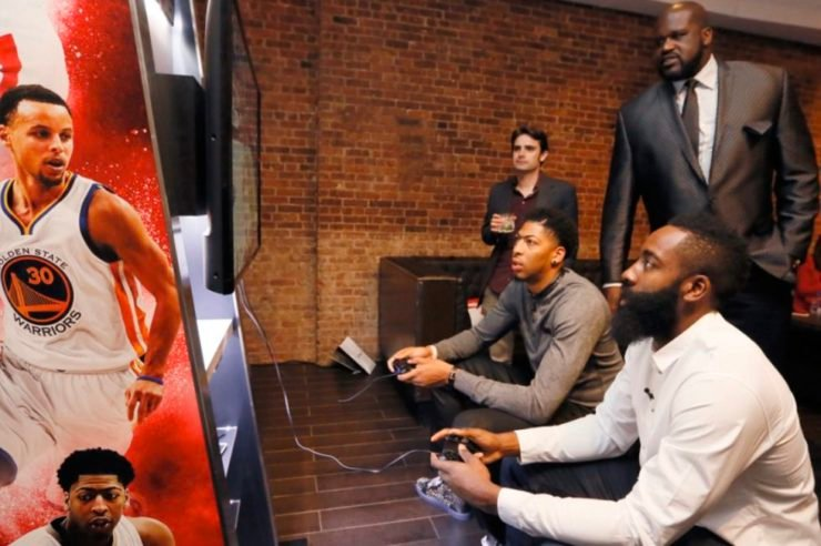 Anthony Davis & James Harden playing video game