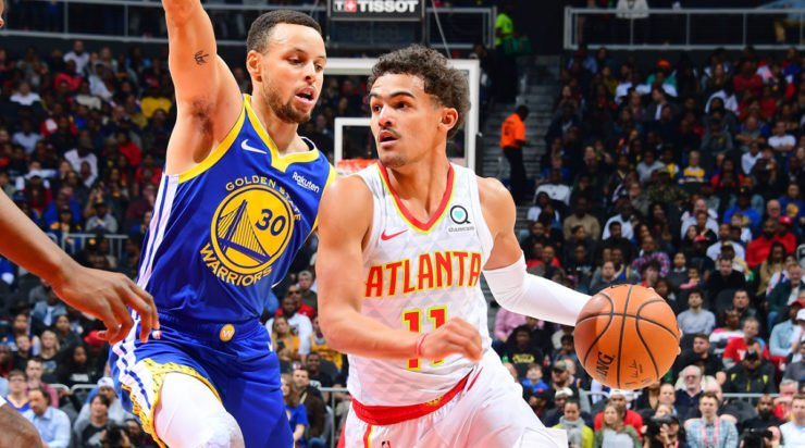 Trae Young and Stephen Curry