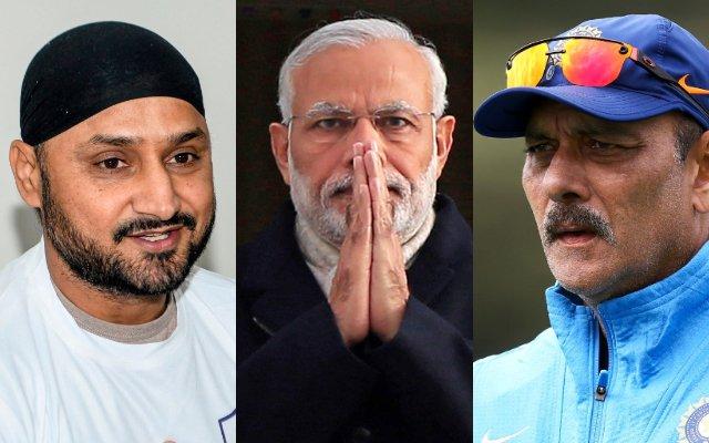 Harbhajan-Singh-Narendra-Modi-and-Ravi-Shastri
