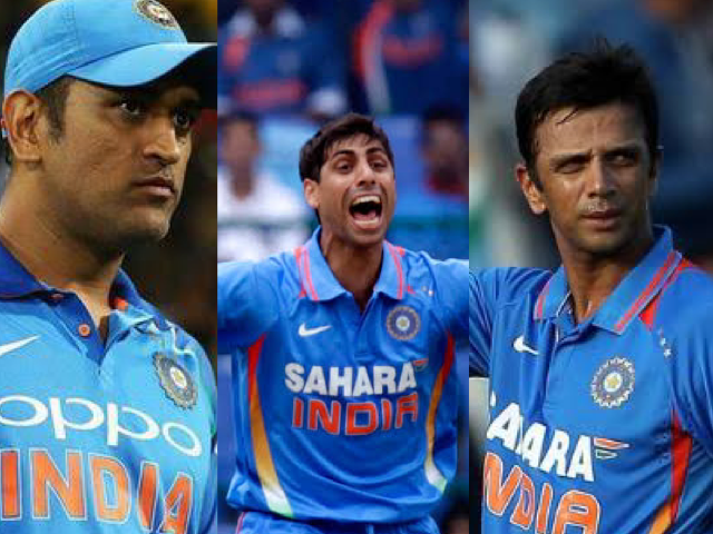 MS Dhoni, Rahul Dravid, and Ashish Nehra