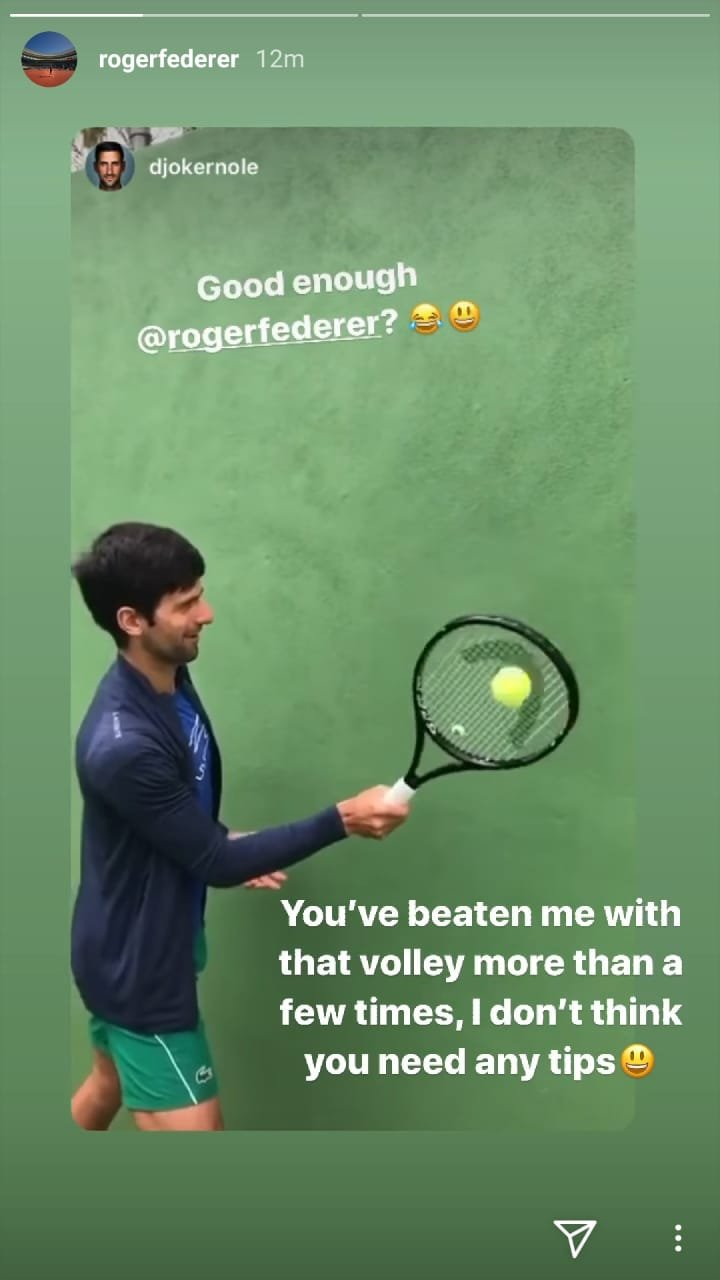 You Ve Beaten Me With That Volley Roger Federer Responds To Novak Djokovic S Challenge Essentiallysports