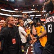 Houston Rockets owner Tilman Fertitta and James Harden