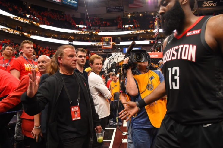 Houston Rockets owner Tilman Fertitta and James Harden