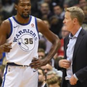 Kevin Durant and Steve Kerr of Golden State Warriors