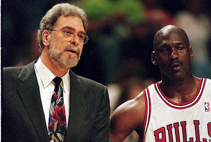 Phil Jackson an Michael Jordan