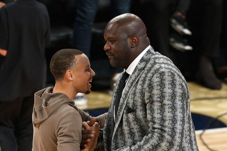 Shaquille O'Neal and Stephen Curry