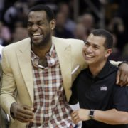 lebron james with his trainer mike mancias