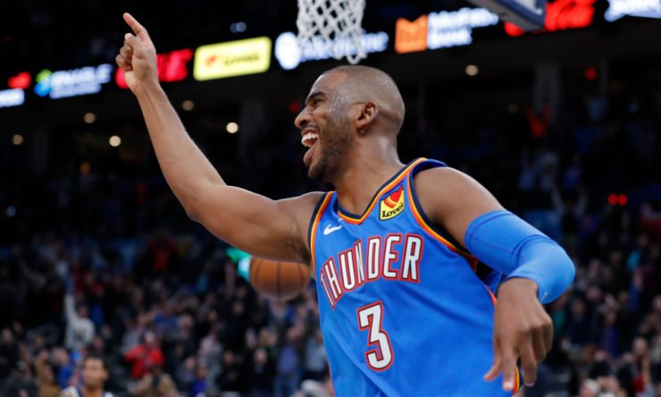 Chris Paul celebrates a win
